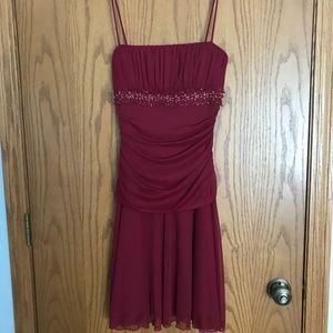 Beaded Spaghetti Strap Midi Formal Cocktail Dress